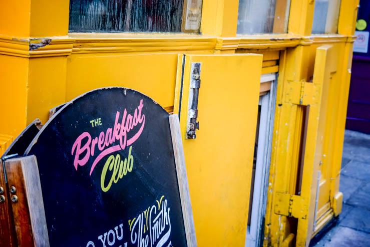 The entrance to our favorite breakfast spot, The Breakfast Club, in Angel Islington