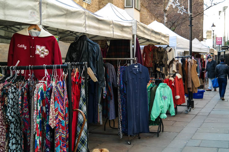 The vintage clothing stalls of Camden Passage in Angel Islington