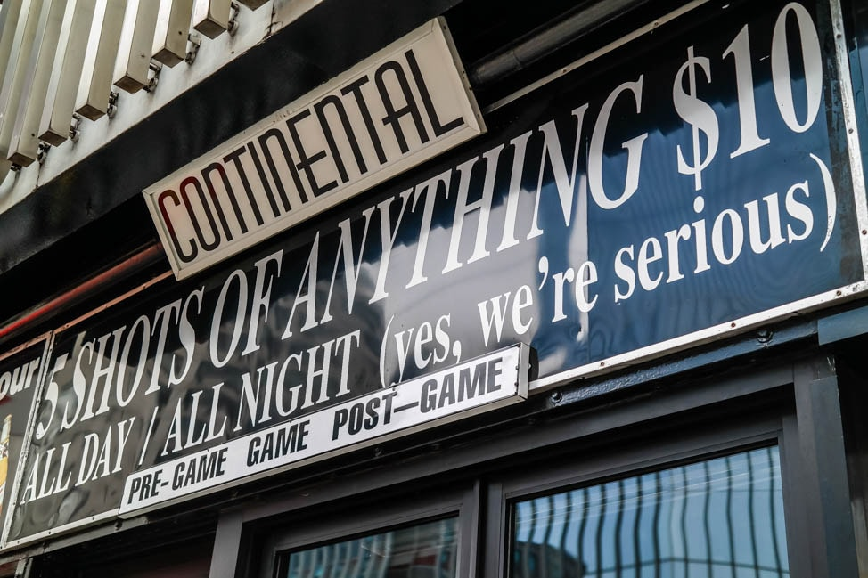east village neighborhood guide: the famous Continental bar on St. Marks