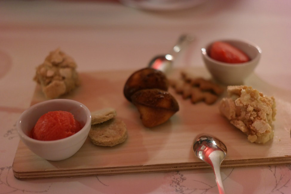 Petits Fours: watermelon sorbet, warm madeleines, apples mixed with ...