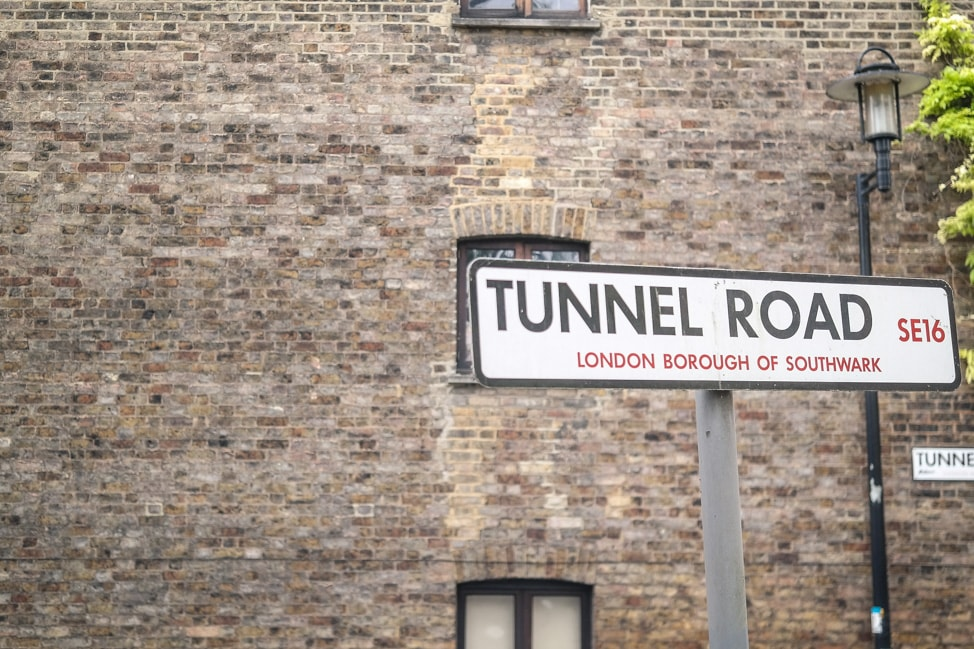 The road leading to Brunel Museum near Bermondsey, London