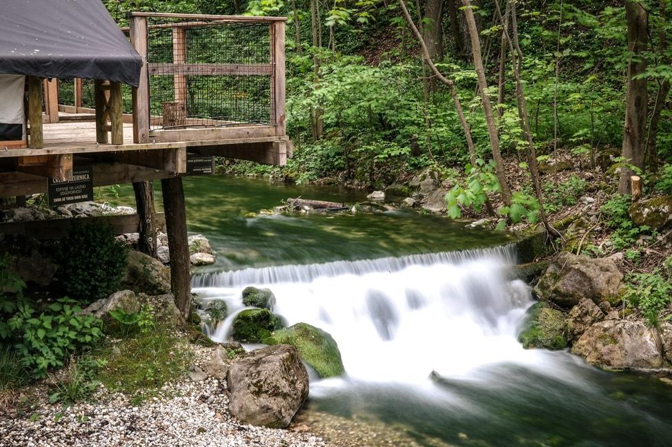 Waterfall at Garden Village Eco Resort, Lake Bled