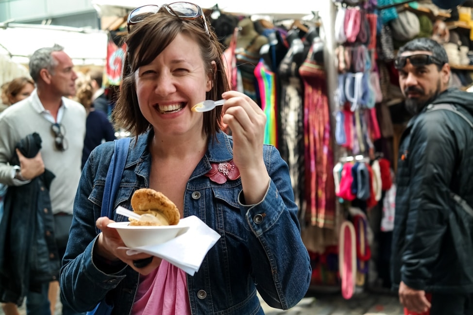 Julie enjoying an ice cream sandwich from Chin Chin Labs, serving some of the best ice cream in London
