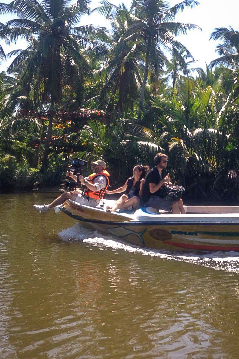 Camera crew on the boat during the Durex Do Not Disturb commercial shoot in Sri Lanka