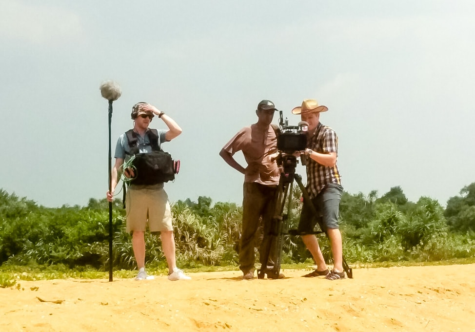 Camera crew on the beach during the Durex Do Not Disturb commercial shoot in Sri Lanka
