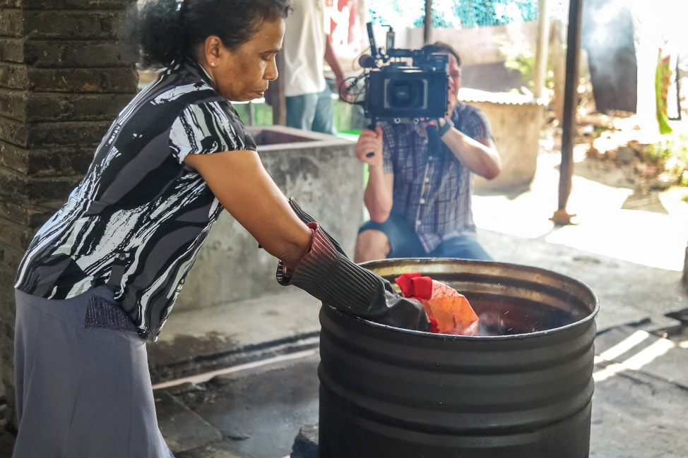 Filming at a batik studio during the Durex Do Not Disturb commercial shoot in Sri Lanka
