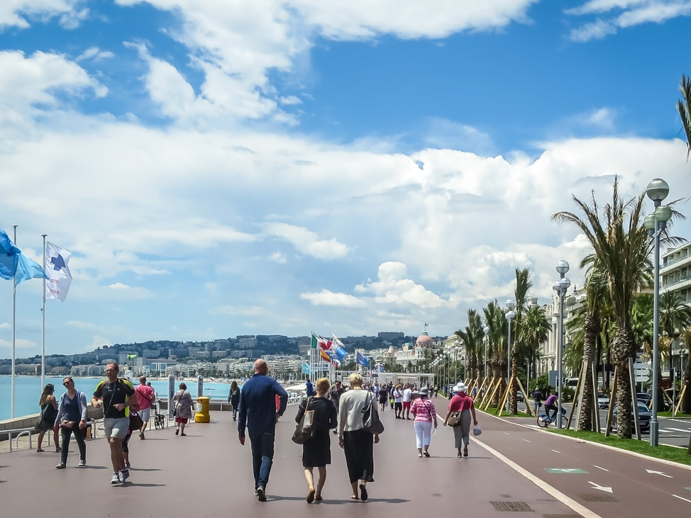 walking along the promenade in Nice, France for Euros 2016