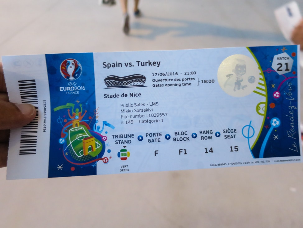 Spain vs Turkey ticket for the Euros 2016 in Nice, France