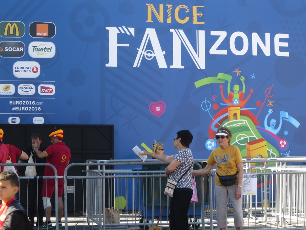 One of the many Fan Zone entrances set up for the Euros 2016 in Nice, France