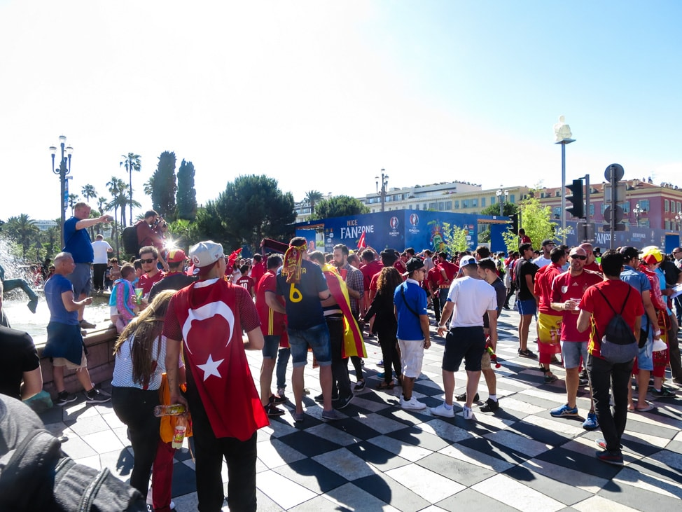 The Turkish fans gathering for the Euros 2016 in Nice, France