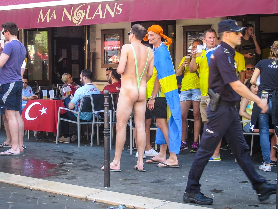 A mostly naked Swedish fan for the Euros 2016 in Nice, France