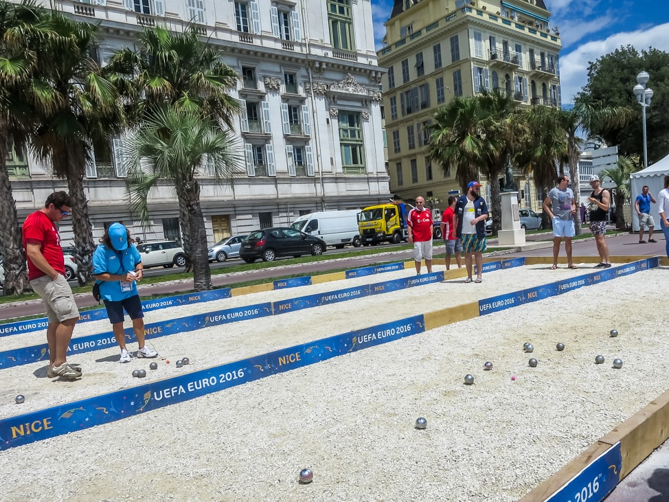 Temporary patonk courts during the Euros 2016 in Nice, France