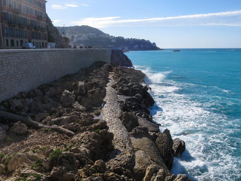 The rocky coast of Nice, France