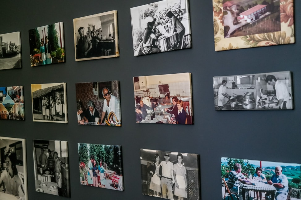 the wall of family photos at the Hotel San Prudentzio in Getaria, Spain