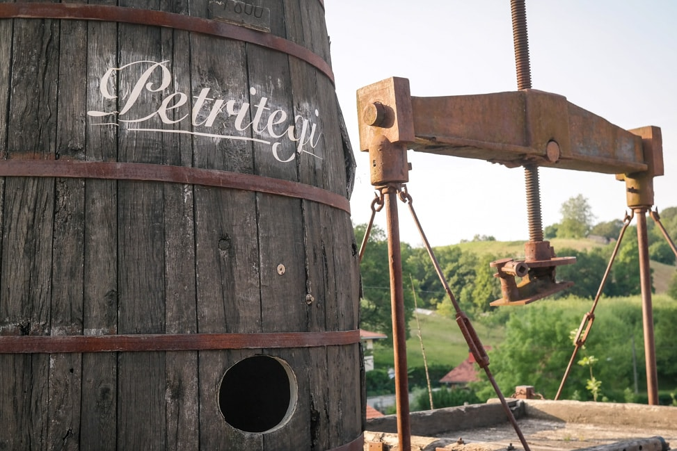 Basque Cider House: Old Apple Cider Press at Petritegi Sideria outside San Sebastian, Spain