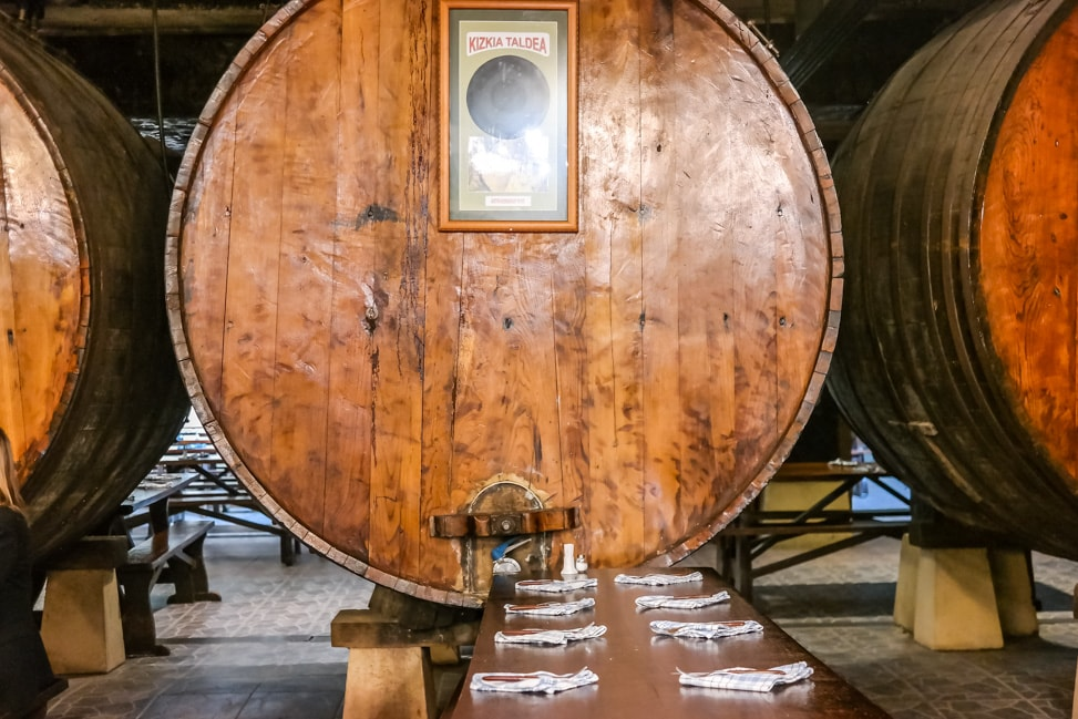 Basque Cider House: One of the massive barrels in the dining room at Petritegi