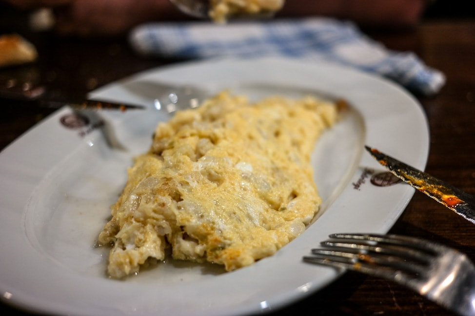 Basque Cider: Salt cod omelet at Petritegi Sideria