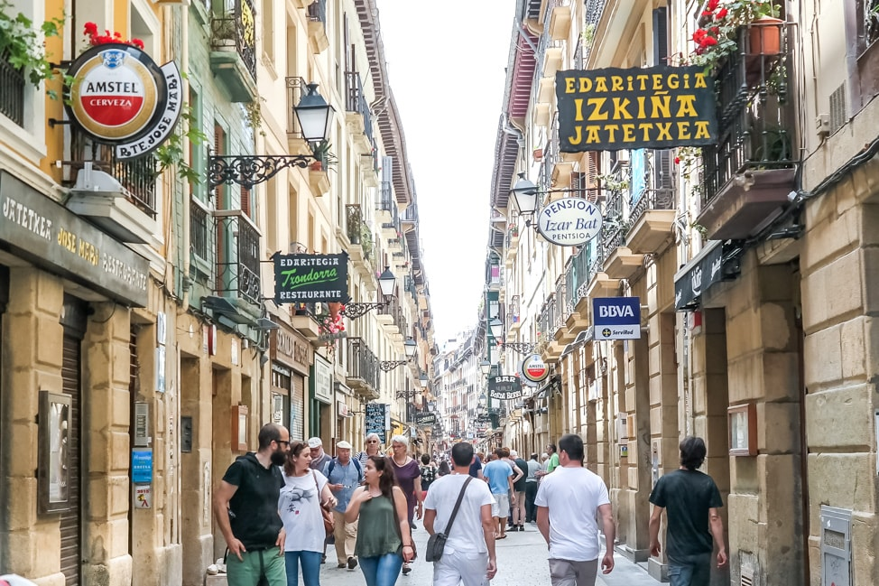 The cramped streets of Old Town, crammed with some of the best pintxos in San Sebastian