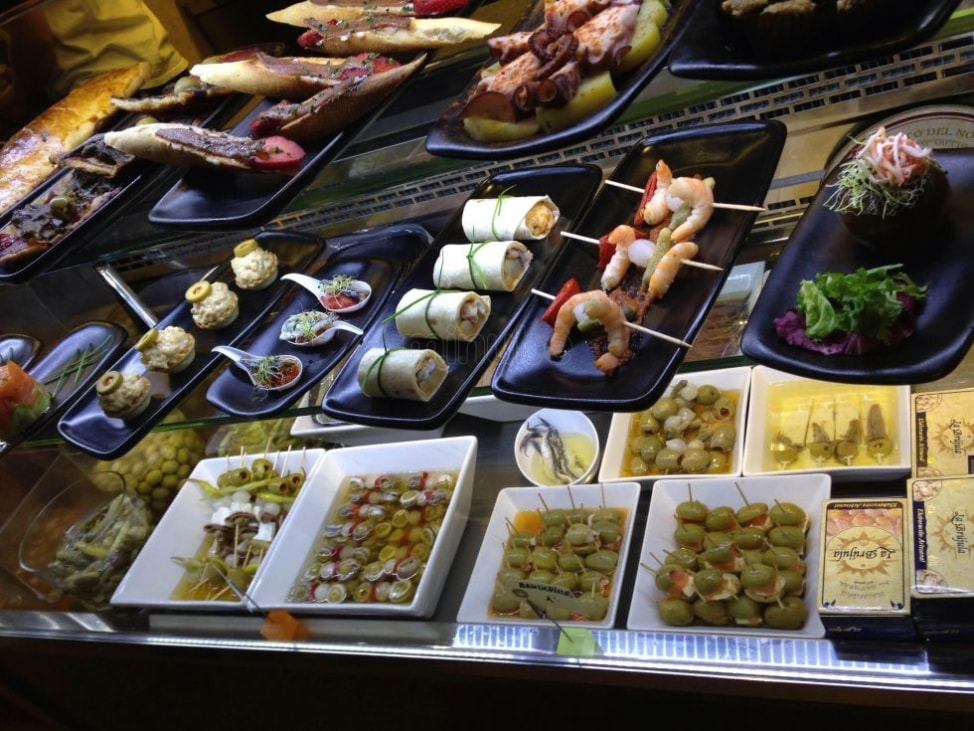 A food display at Mercat Princesa in Barcelona, Spain, one of the underrated European food markets