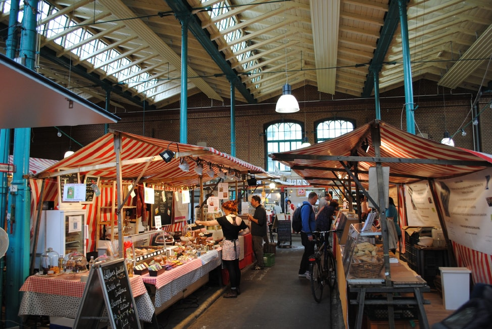 A few of the many stalls at Markthalle IX in Berlin, Germany, one of the underrated Euroepan food markets