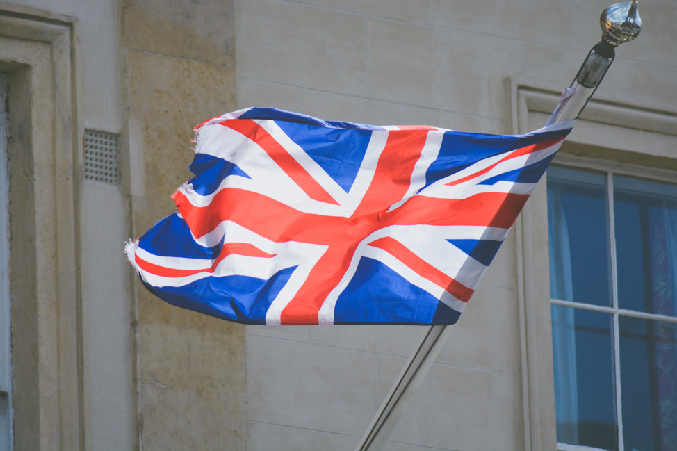 The UK flag on the high street of Angel Islington
