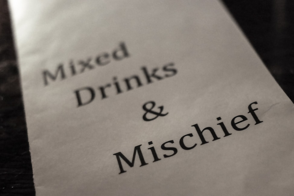 The menu at Happiness Forgets: Cocktail bars in London
