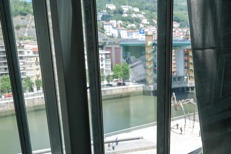 A view of the river from the interior of the Guggenheim Museum Bilbao in Bilbao, Spain