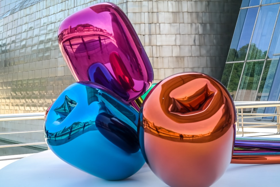 'Tulips' by Jeff Koons at the Guggenheim Museum Bilbao in Bilbao, Spain