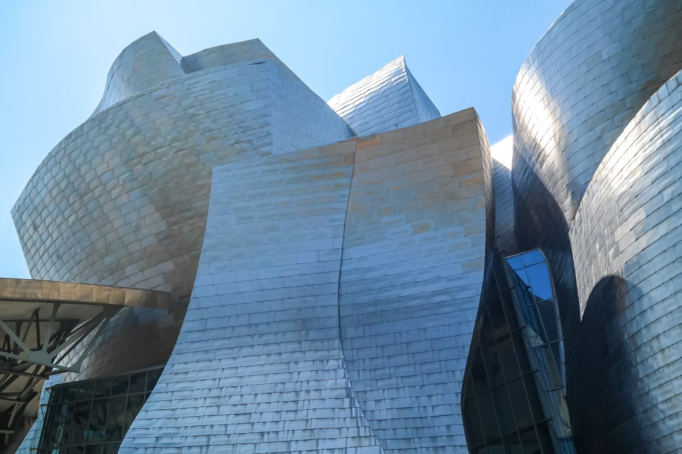 The exterior of the Guggenheim Museum Bilbao in Bilbao, Spain