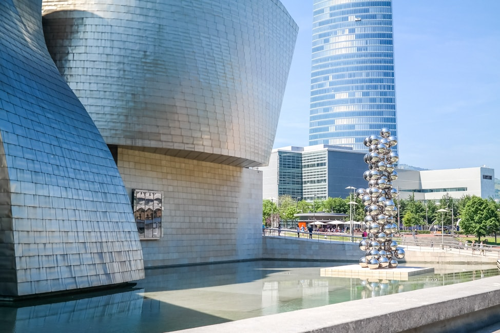 The outside of the stunning Guggenheim Bilbao Museum in Bilbao, Spain