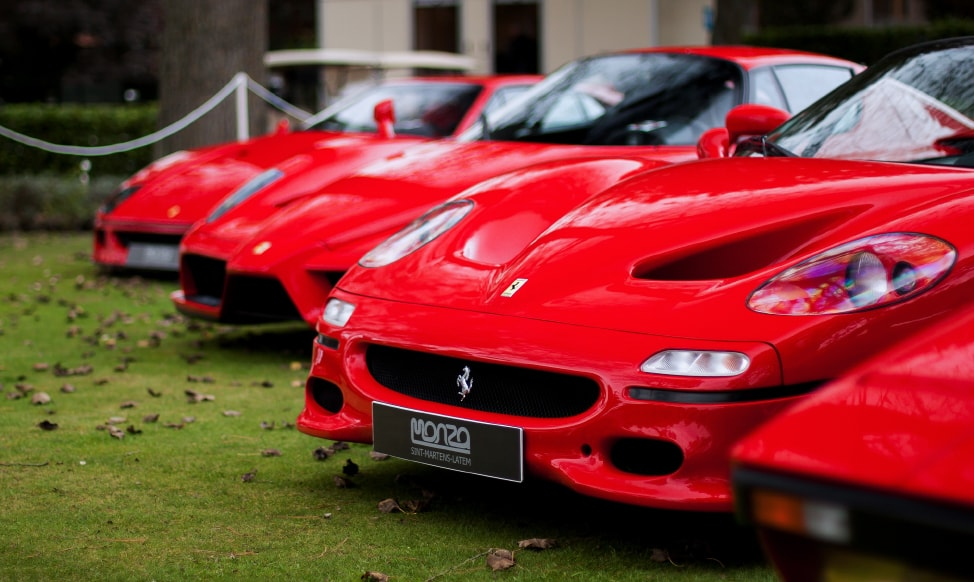 A lineup of Ferrari's, from the Italy town of Modena, a stop on our Italy road trip