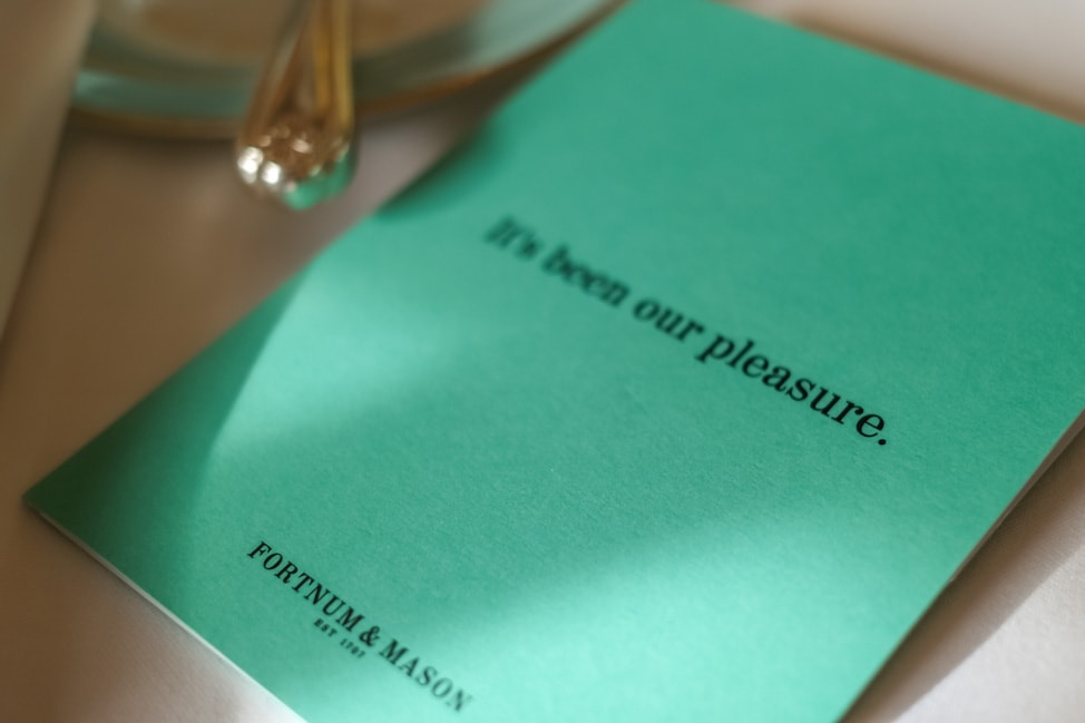 The Fortnum and Mason afternoon tea menu
