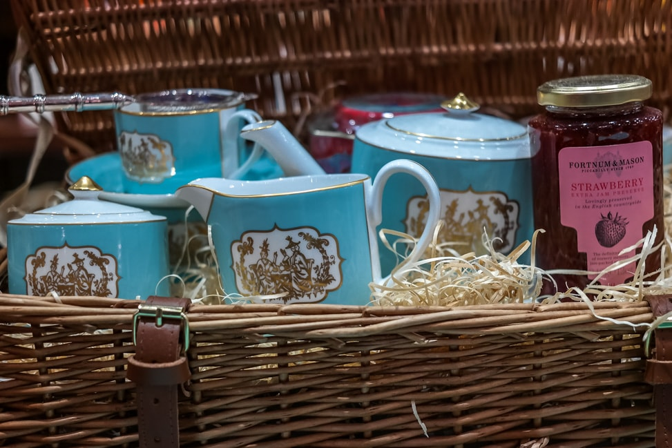 One of the classic hampers for sale outside of the Fortnum and Mason afternoon tea room