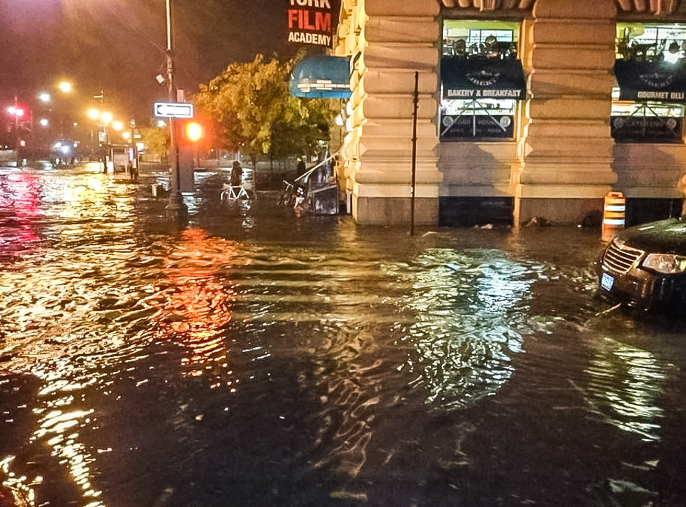 The Conrad Hotel New York: the flood in front of our apartment building