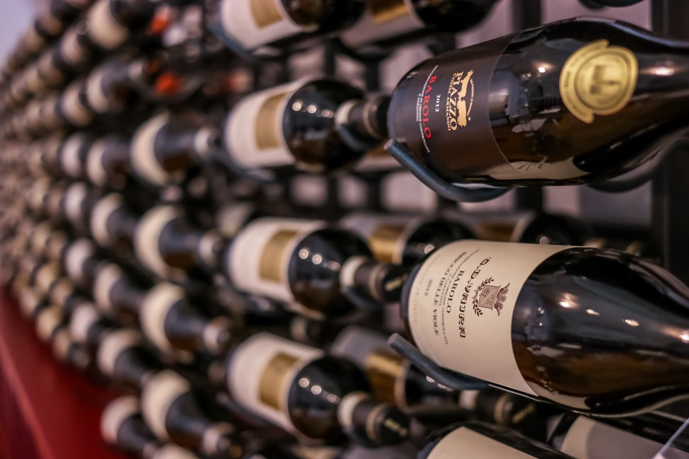 A wall of Barolo Wine in Piedmont