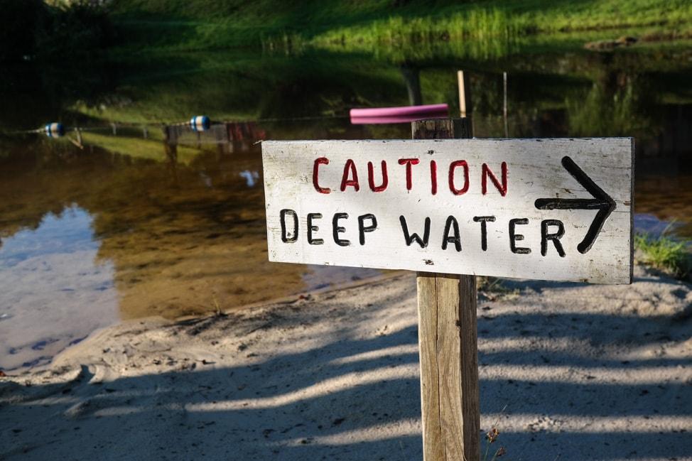 High Hampton Inn: deep water warning for the lake