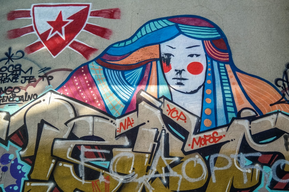 belgrade street art football symbol