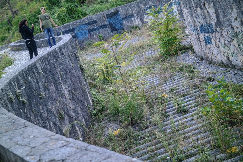 Mostar Bosnia: the now empty fountain of Partisan Park