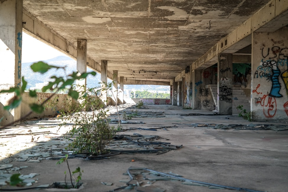 Mostar sniper tower: the abandoned floors of the former bank building