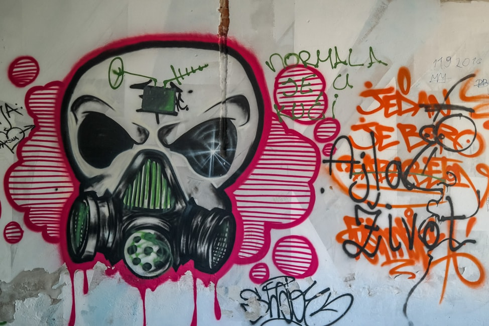 Mostar sniper tower: more graffiti inside the building