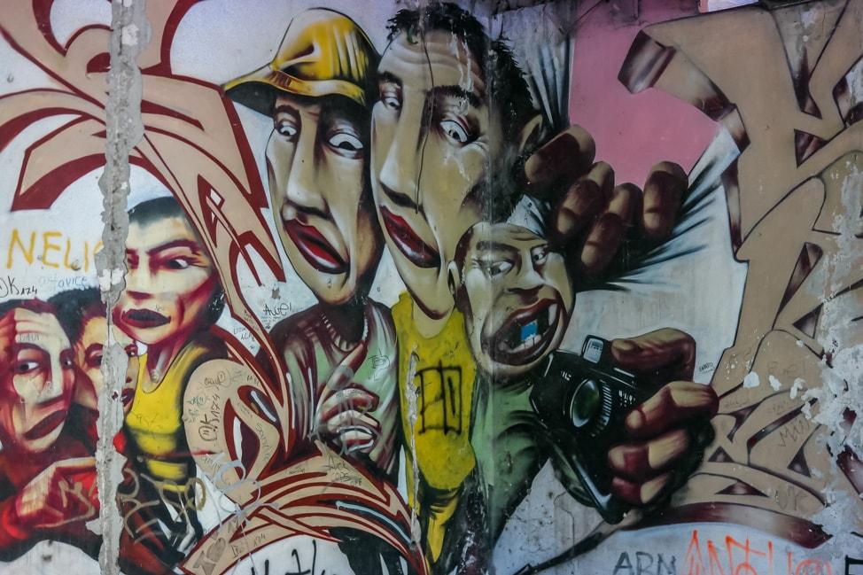 Mostar sniper tower: more graffiti inside the building