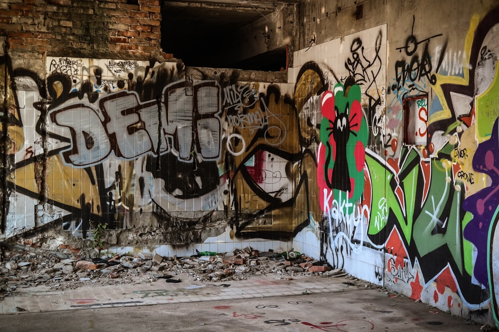 Mostar sniper tower: graffiti covering the interior