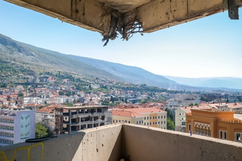 Mostar sniper tower: view from the 7th floor