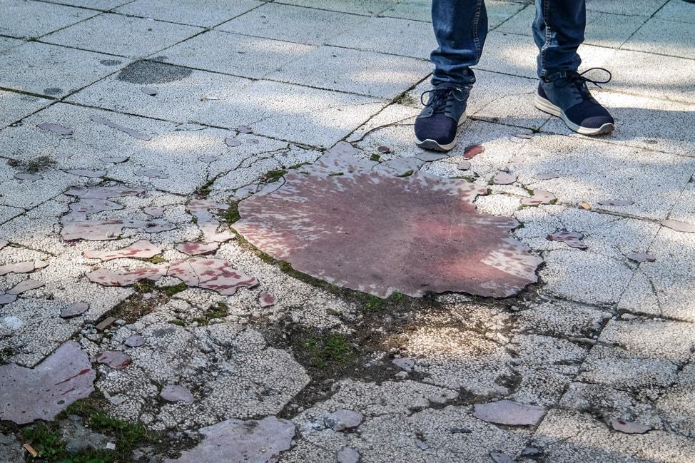 Sarajevo Bosnia: rose symbol marking a bomb site