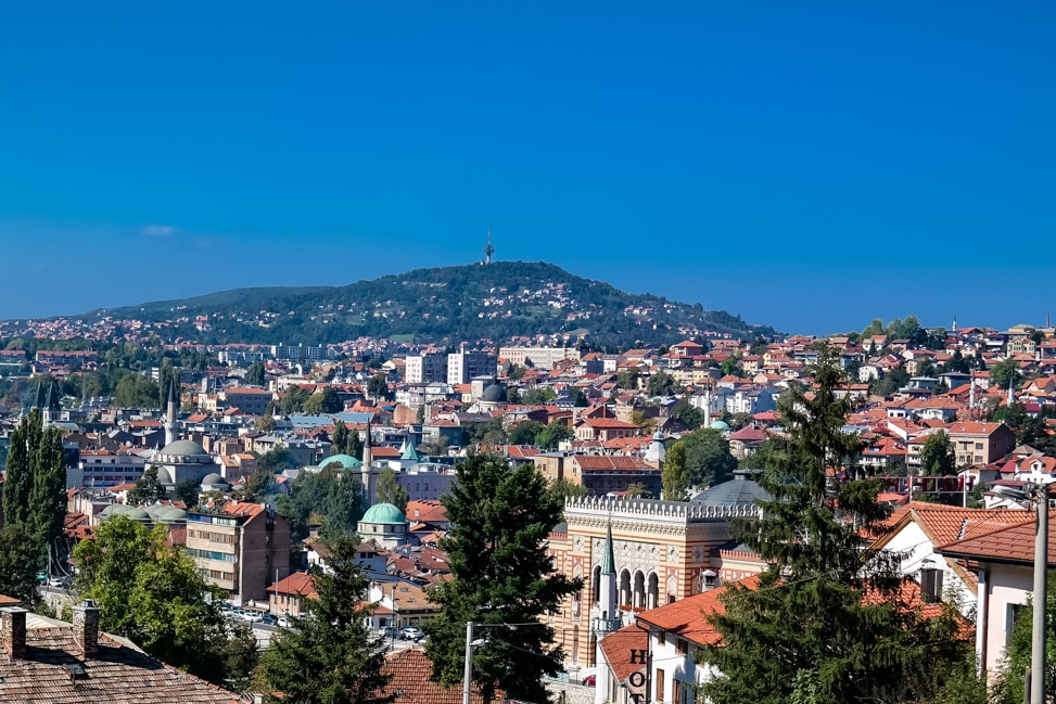 Sarajevo Bosnia: an aerial view of the city