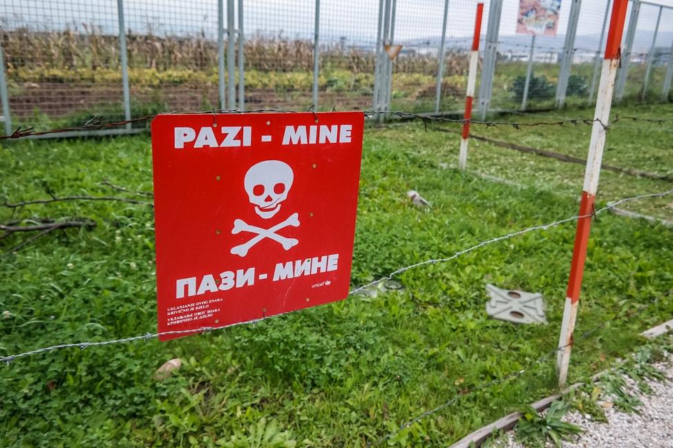 Sarajevo Bosnia: mine warning sign near the war tunnel museum