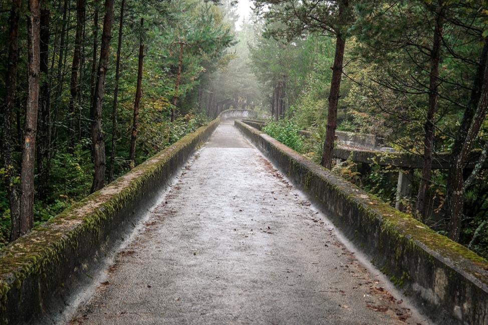 Sarajevo Bosnia: abandoned bobsled track