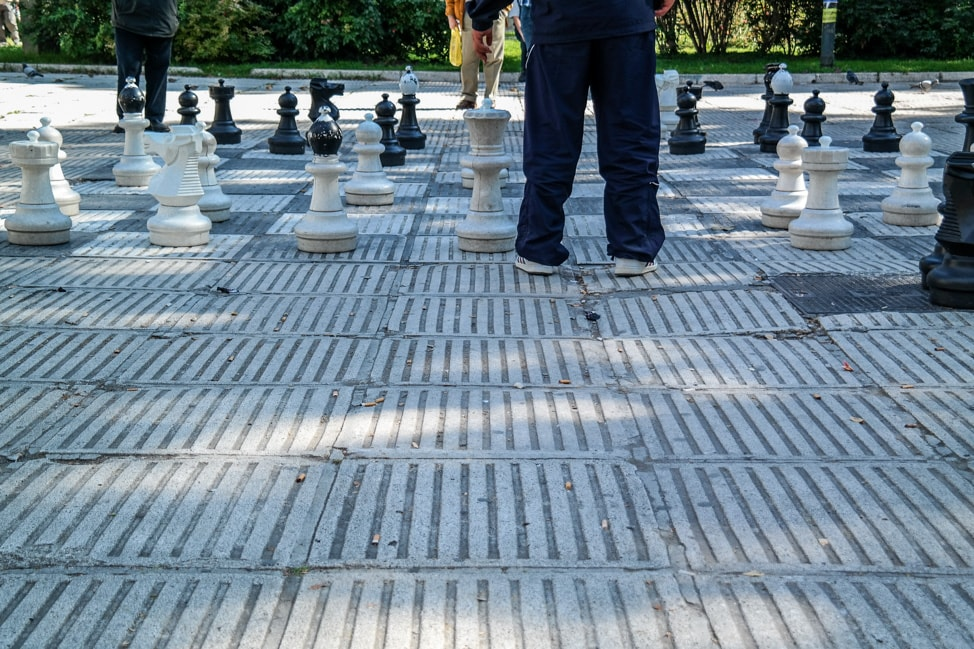 Sarajevo Bosnia: giant chess board in city center