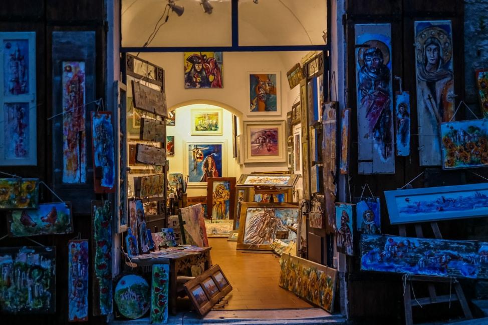 Assisi, Italy: one of the many Catholic shops