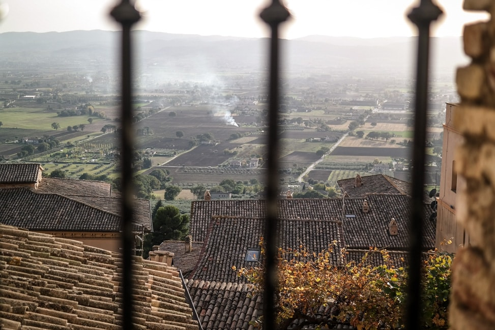 Assisi, Italy: a view of the Umbrian countryside below